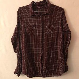 Prana Plaid Button-Up Flannel Top
